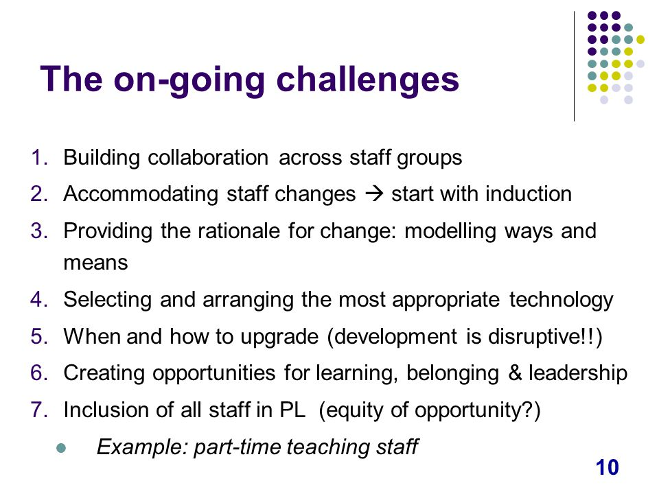 10 The on-going challenges 1.Building collaboration across staff groups 2.Accommodating staff changes  start with induction 3.Providing the rationale for change: modelling ways and means 4.Selecting and arranging the most appropriate technology 5.When and how to upgrade (development is disruptive!!) 6.Creating opportunities for learning, belonging & leadership 7.Inclusion of all staff in PL (equity of opportunity ) Example: part-time teaching staff
