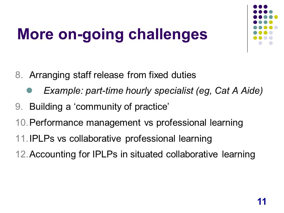 11 More on-going challenges 8.Arranging staff release from fixed duties Example: part-time hourly specialist (eg, Cat A Aide) 9.Building a 'community of practice' 10.Performance management vs professional learning 11.IPLPs vs collaborative professional learning 12.Accounting for IPLPs in situated collaborative learning