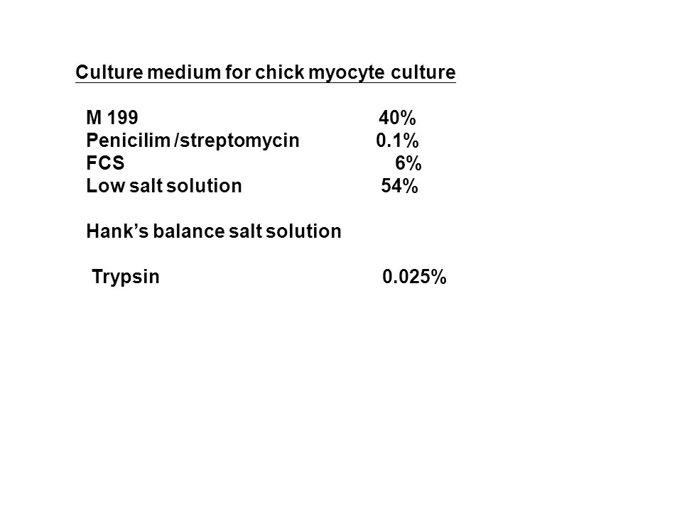 Culture medium for chick myocyte culture M 199 40% Penicilim /streptomycin 0.1% FCS 6% Low salt solution 54% Hank's balance salt solution Trypsin 0.025%