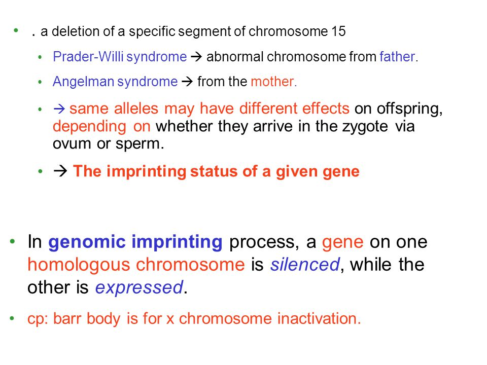 . a deletion of a specific segment of chromosome 15 Prader-Willi syndrome  abnormal chromosome from father. Angelman syndrome  from the mother. In g