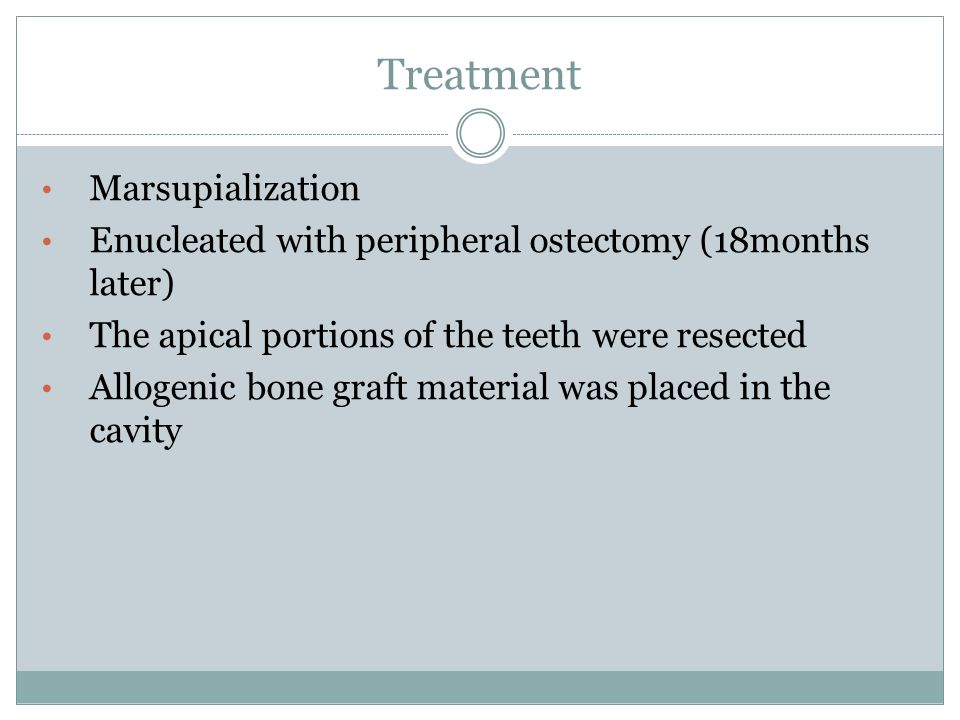 Treatment Marsupialization Enucleated with peripheral ostectomy (18months later) The apical portions of the teeth were resected Allogenic bone graft m