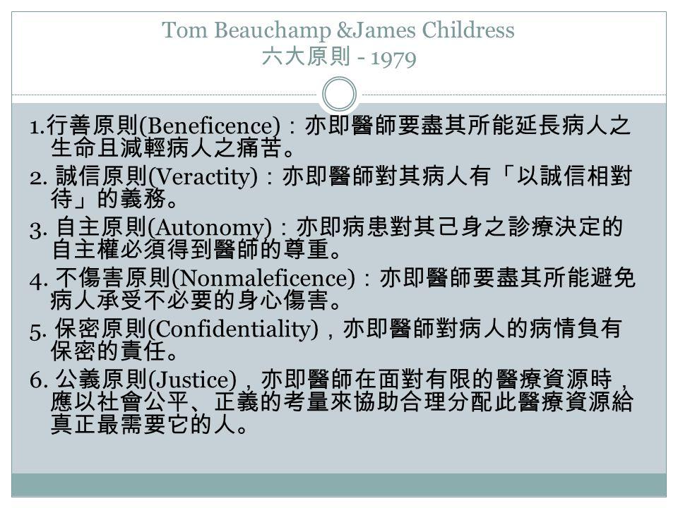 Tom Beauchamp &James Childress 六大原則 - 1979 1. 行善原則 (Beneficence) :亦即醫師要盡其所能延長病人之 生命且減輕病人之痛苦。 2. 誠信原則 (Veractity) :亦即醫師對其病人有「以誠信相對 待」的義務。 3. 自主原則 (Auto