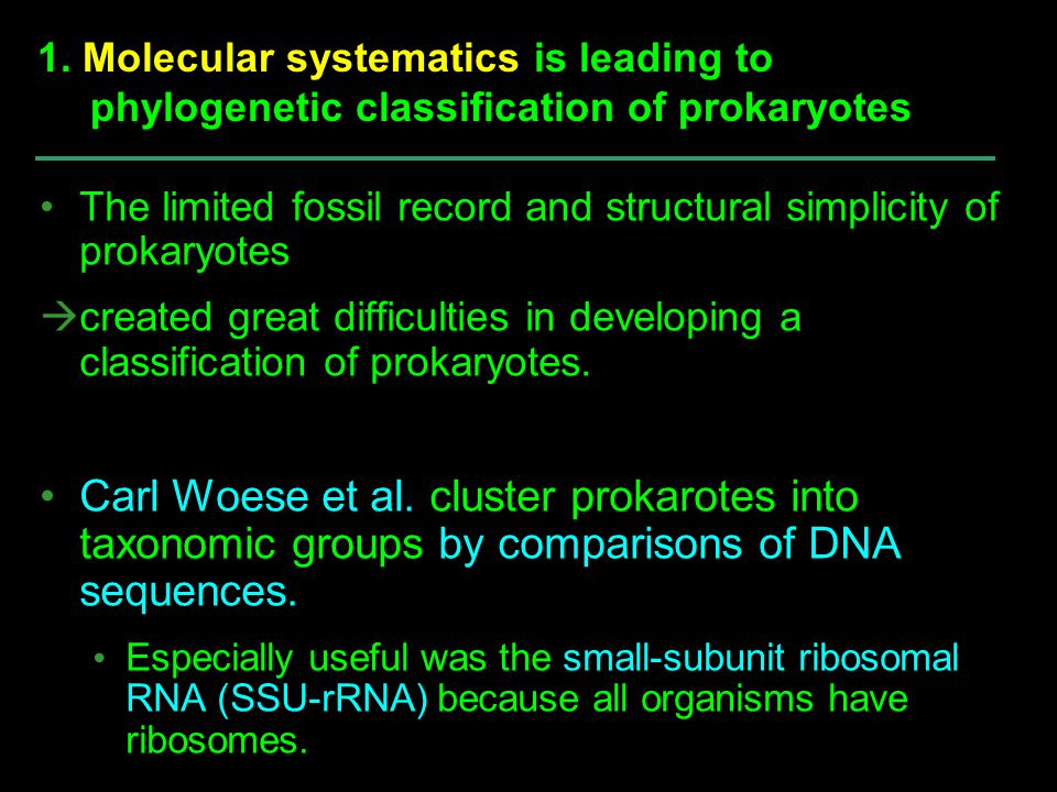 The limited fossil record and structural simplicity of prokaryotes  created great difficulties in developing a classification of prokaryotes. Carl Wo