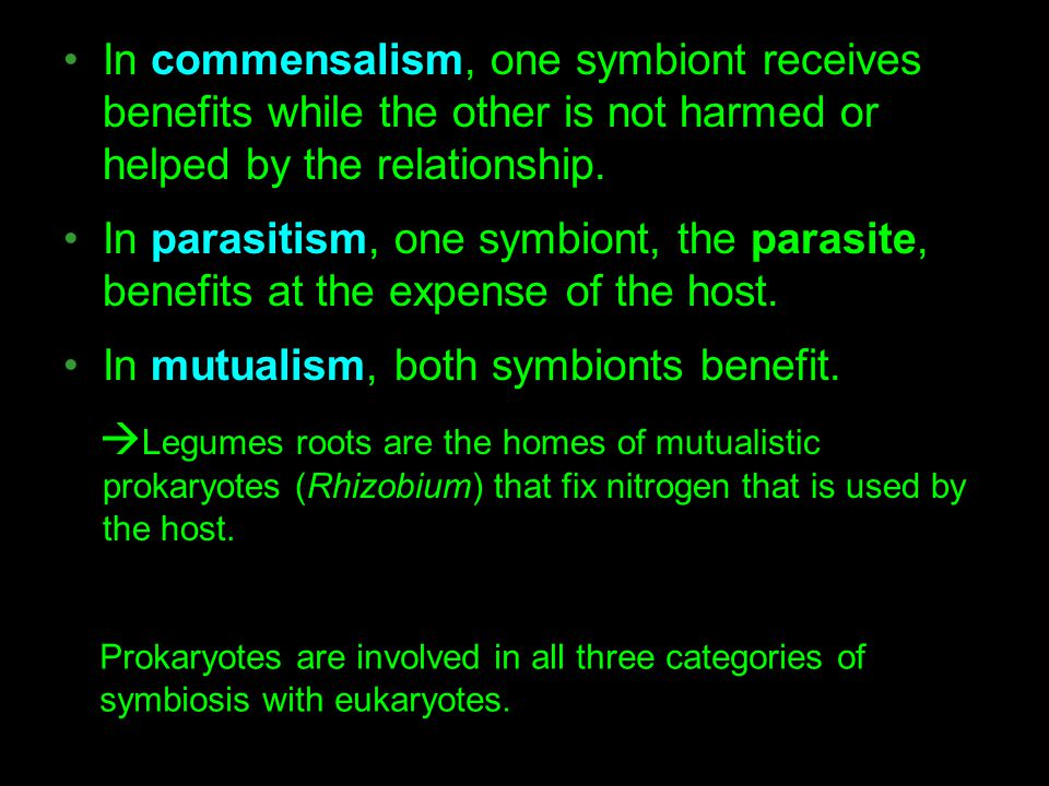 In commensalism, one symbiont receives benefits while the other is not harmed or helped by the relationship. In parasitism, one symbiont, the parasite