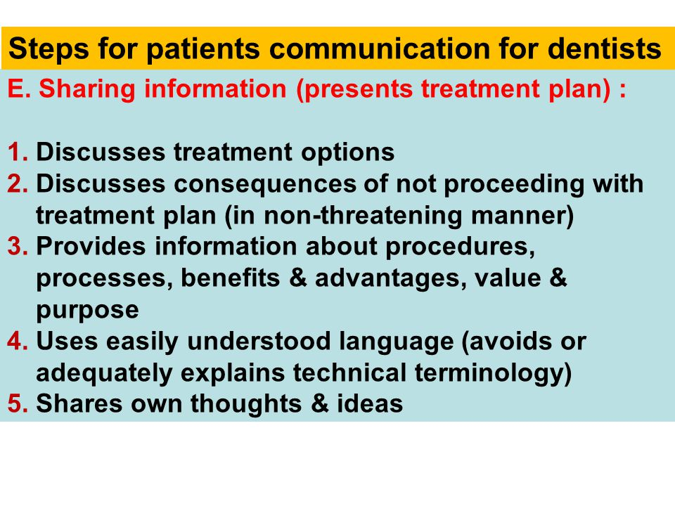 E. Sharing information (presents treatment plan) : 1. Discusses treatment options 2. Discusses consequences of not proceeding with treatment plan (in