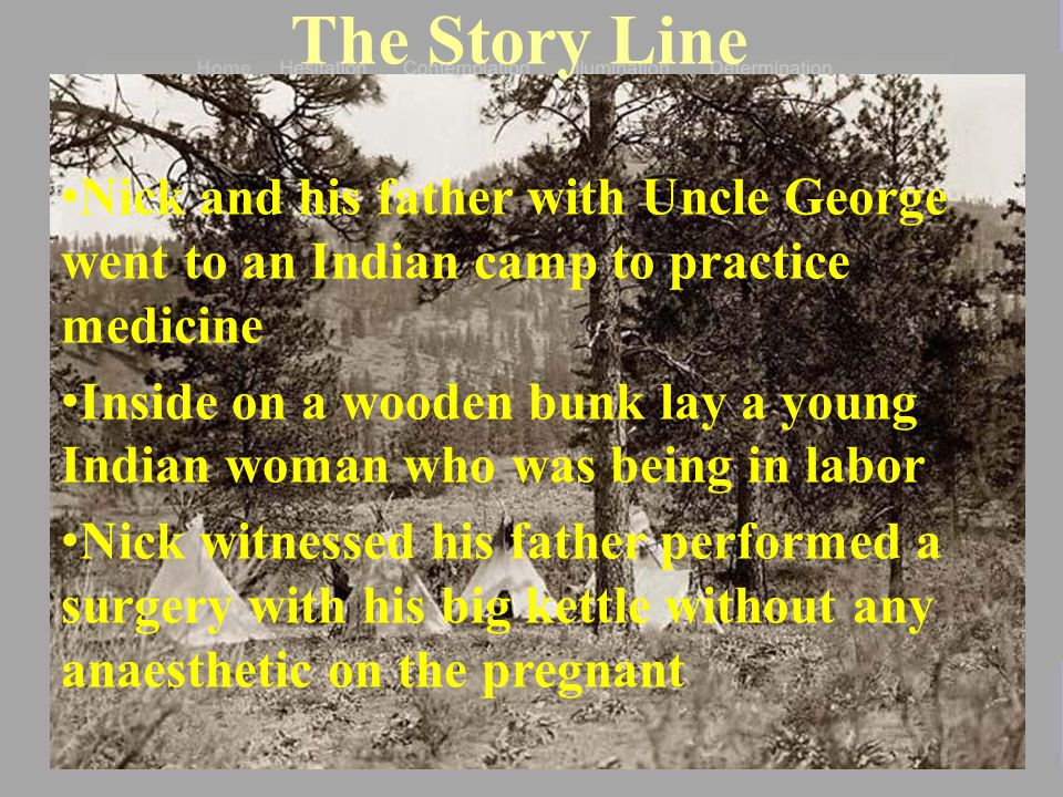 The Story Line Nick and his father with Uncle George went to an Indian camp to practice medicine Inside on a wooden bunk lay a young Indian woman who was being in labor Nick witnessed his father performed a surgery with his big kettle without any anaesthetic on the pregnant