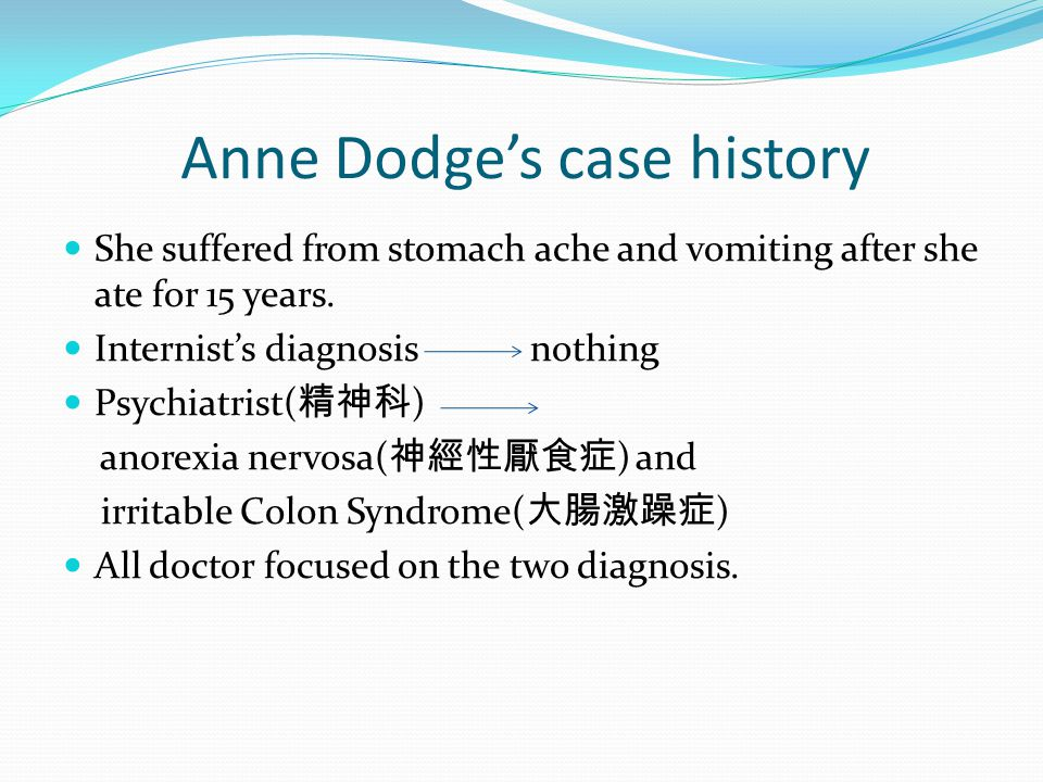 Anne Dodge's case history She suffered from stomach ache and vomiting after she ate for 15 years.