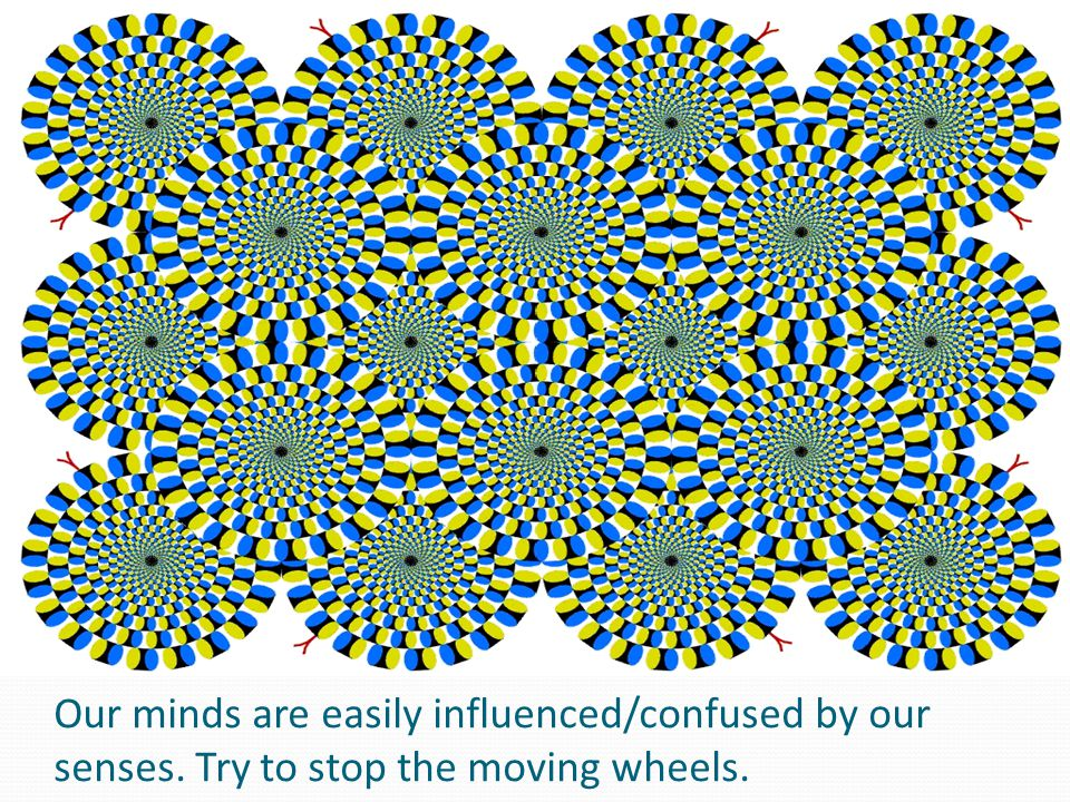 Our minds are easily influenced/confused by our senses. Try to stop the moving wheels.