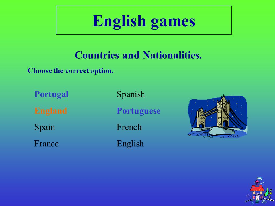 PortugalSpanish EnglandPortuguese SpainFrench FranceEnglish English games Countries and Nationalities.