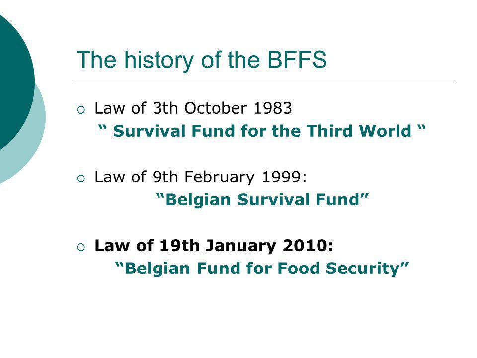 The history of the BFFS  Law of 3th October 1983 Survival Fund for the Third World  Law of 9th February 1999: Belgian Survival Fund  Law of 19th January 2010: Belgian Fund for Food Security