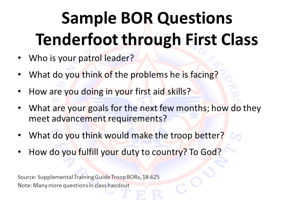 Sample BOR Questions Tenderfoot through First Class Who is your patrol leader.