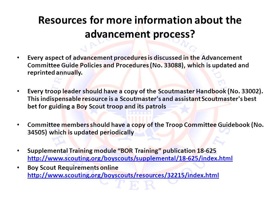 Resources for more information about the advancement process.