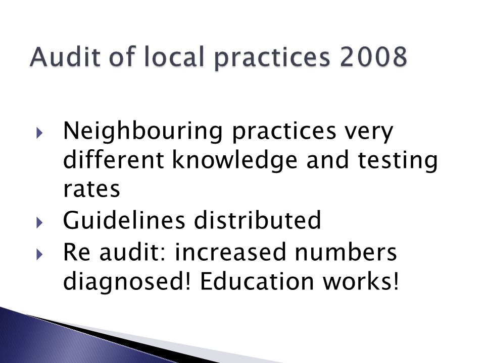  Neighbouring practices very different knowledge and testing rates  Guidelines distributed  Re audit: increased numbers diagnosed.