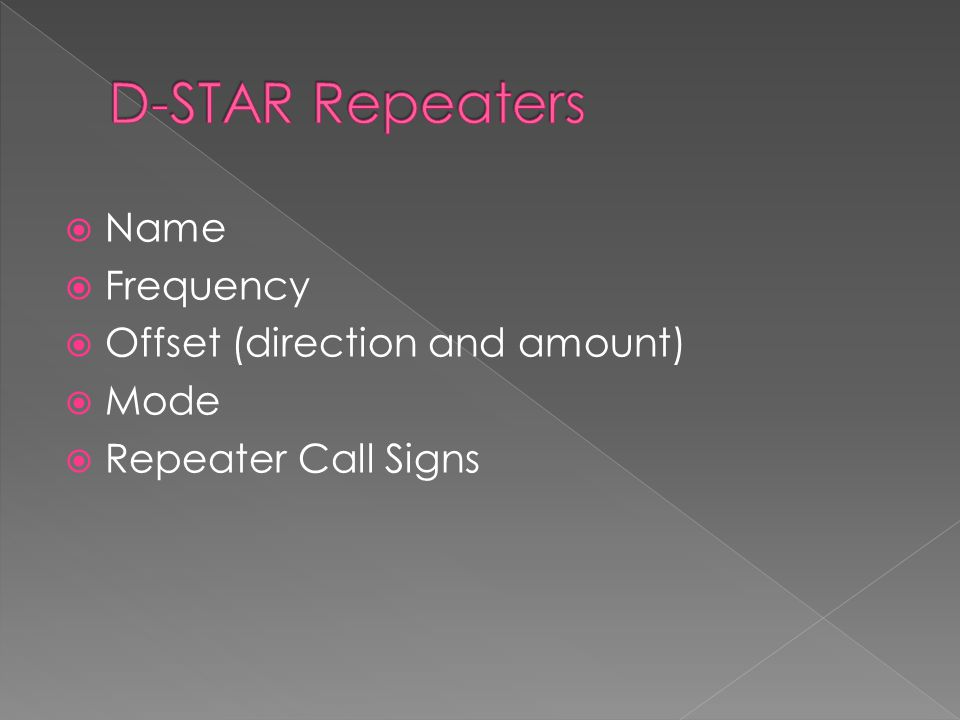  Name  Frequency  Offset (direction and amount)  Mode  Repeater Call Signs