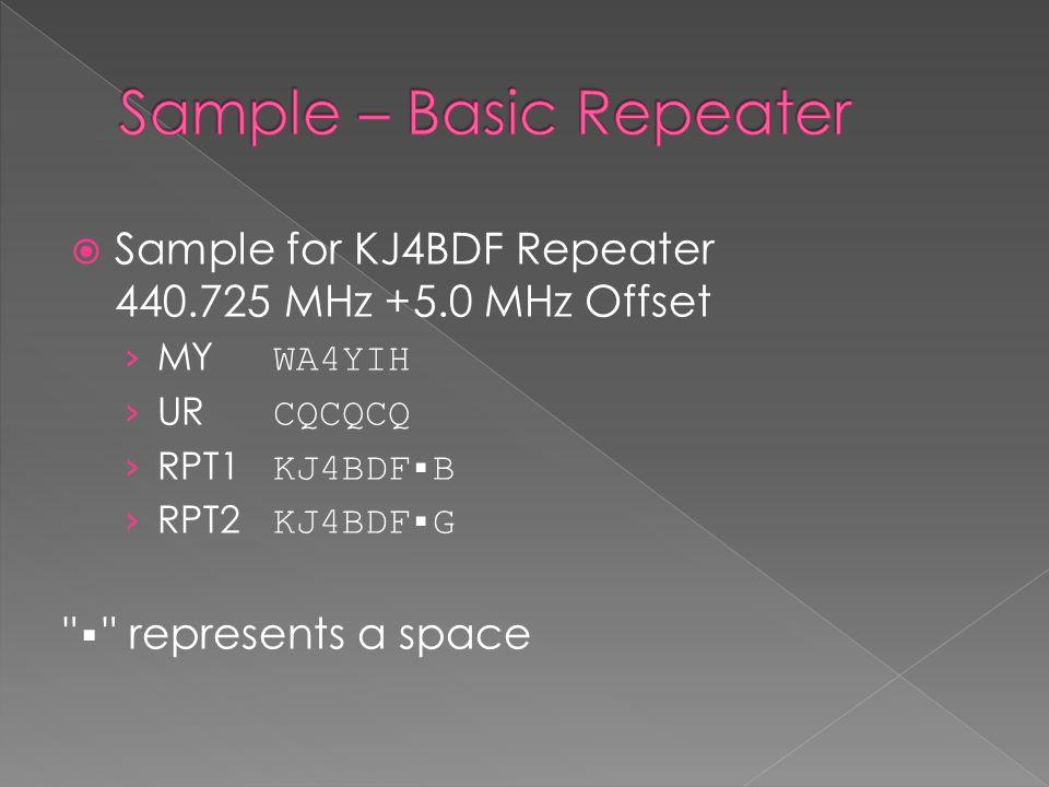  Sample for KJ4BDF Repeater 440.725 MHz +5.0 MHz Offset › MY WA4YIH › UR CQCQCQ › RPT1 KJ4BDF▪B › RPT2 KJ4BDF▪G ▪ represents a space