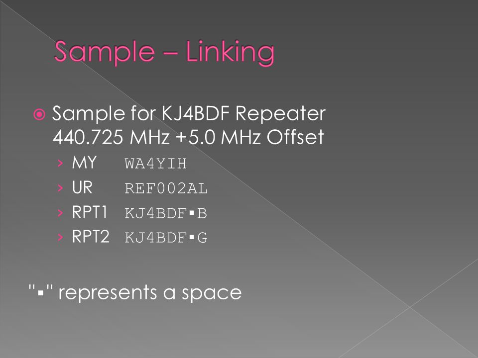  Sample for KJ4BDF Repeater 440.725 MHz +5.0 MHz Offset › MY WA4YIH › UR REF002AL › RPT1 KJ4BDF▪B › RPT2 KJ4BDF▪G ▪ represents a space