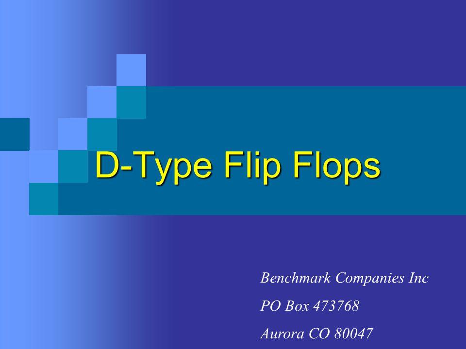 Types of D Flip-Flops D Q Q Positive Edge TriggeredNegative Edge Triggered D Q Q The trigger happens during the designed trigger edge.