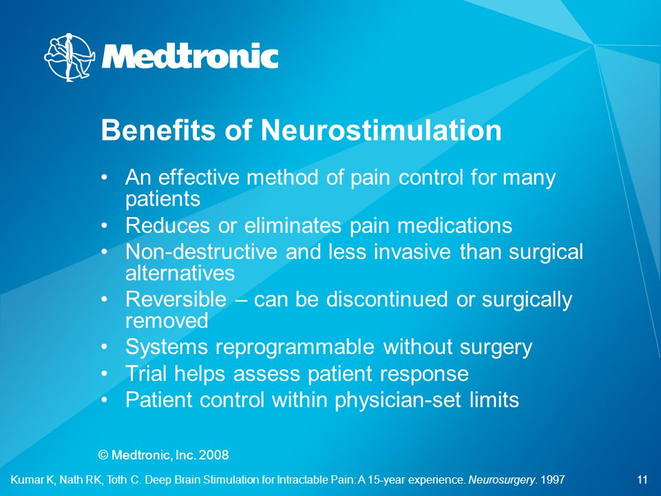 11 © Medtronic, Inc. 2008 An effective method of pain control for many patients Reduces or eliminates pain medications Non-destructive and less invasi