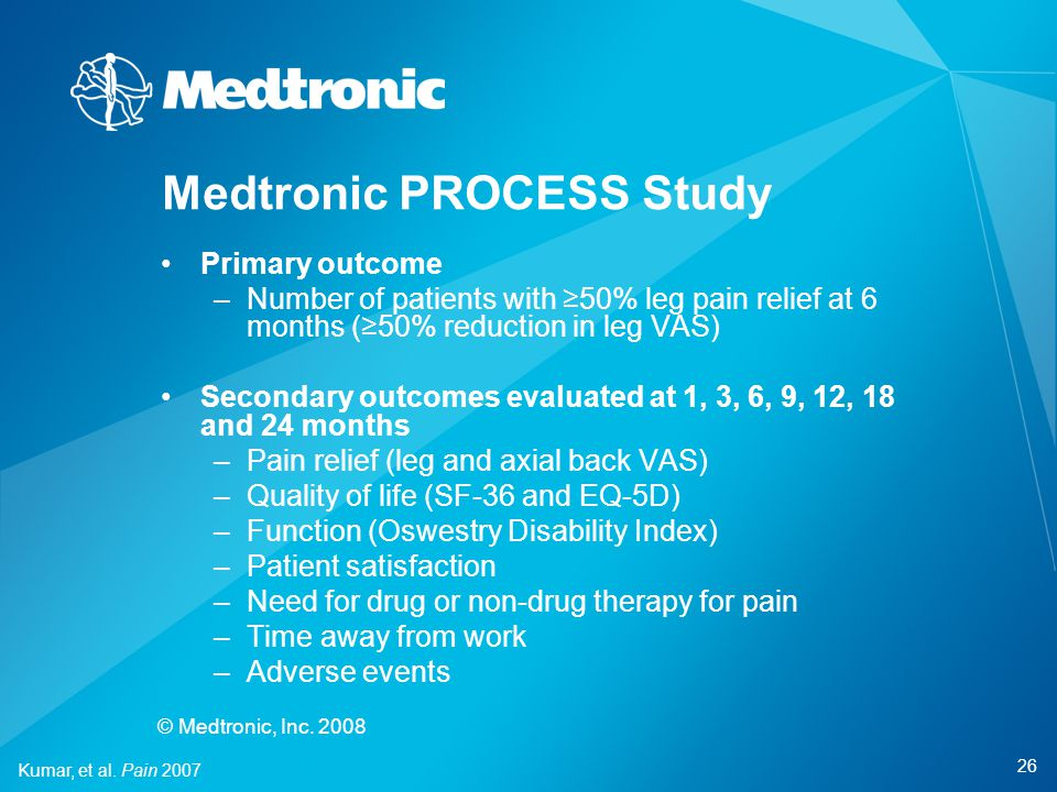 26 © Medtronic, Inc. 2008 Primary outcome –Number of patients with ≥50% leg pain relief at 6 months (≥50% reduction in leg VAS) Secondary outcomes eva