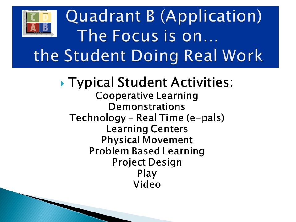  Typical Student Activities: Cooperative Learning Demonstrations Technology – Real Time (e-pals) Learning Centers Physical Movement Problem Based Lea