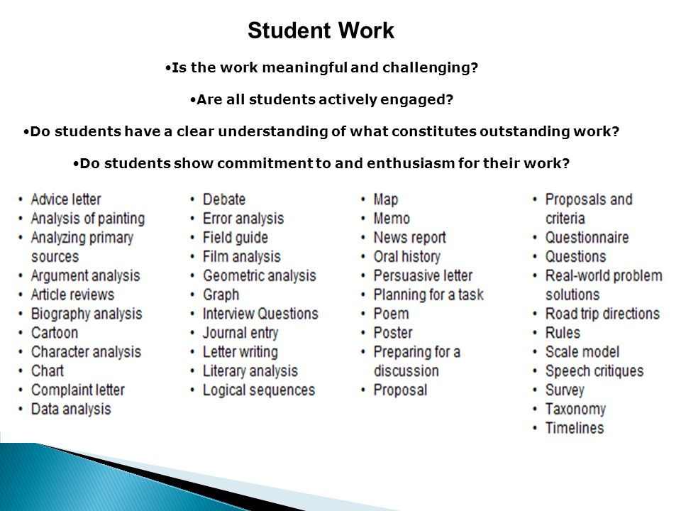 Student Work Is the work meaningful and challenging? Are all students actively engaged? Do students have a clear understanding of what constitutes out