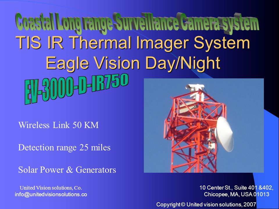 Copyright © United vision solutions, 2007 EAGLE VISION EV3000-D-IR 24/7 security system Day - Night - Dark