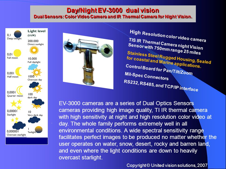 Copyright © United vision solutions, 2007 Day/Night EV-3000 dual vision Dual Sensors: Color Video Camera and IR Thermal Camera for Night Vision..