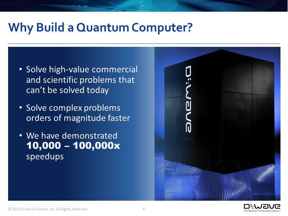 © 2013 D-Wave Systems Inc. All Rights Reserved 4 Why Build a Quantum Computer.