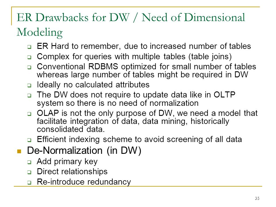 ER Drawbacks for DW / Need of Dimensional Modeling  ER Hard to remember, due to increased number of tables  Complex for queries with multiple tables