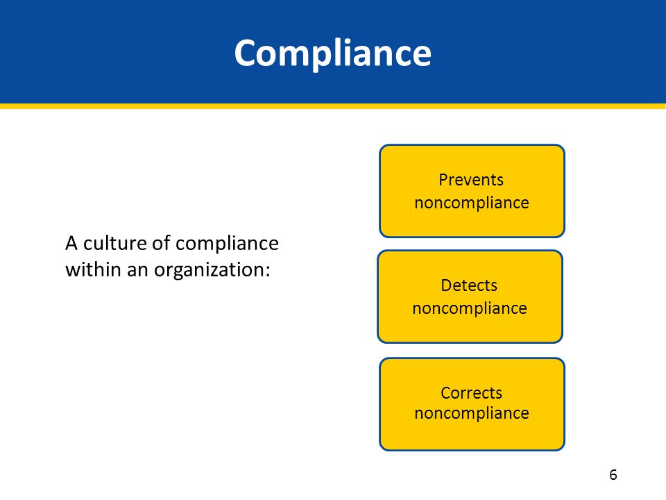Compliance A culture of compliance within an organization: Prevents noncompliance Detects noncompliance Corrects noncompliance 6