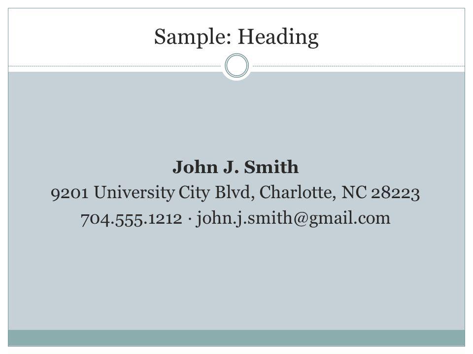Sample: Heading John J.
