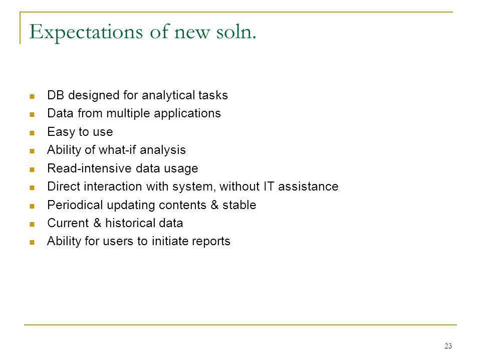 23 Expectations of new soln.