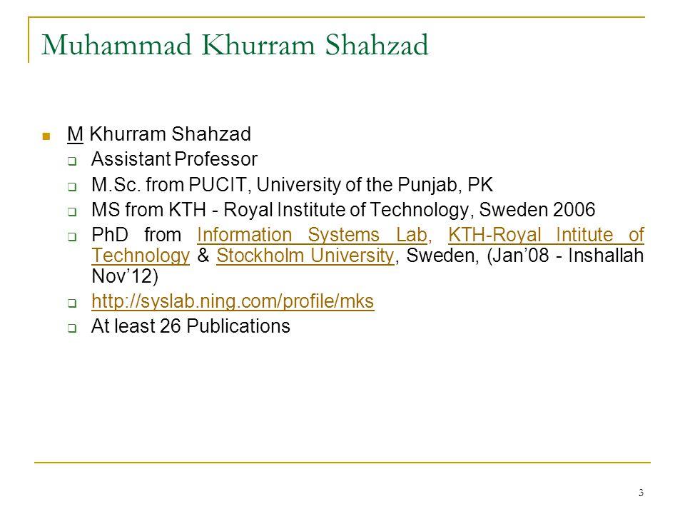 3 Muhammad Khurram Shahzad M Khurram Shahzad  Assistant Professor  M.Sc.