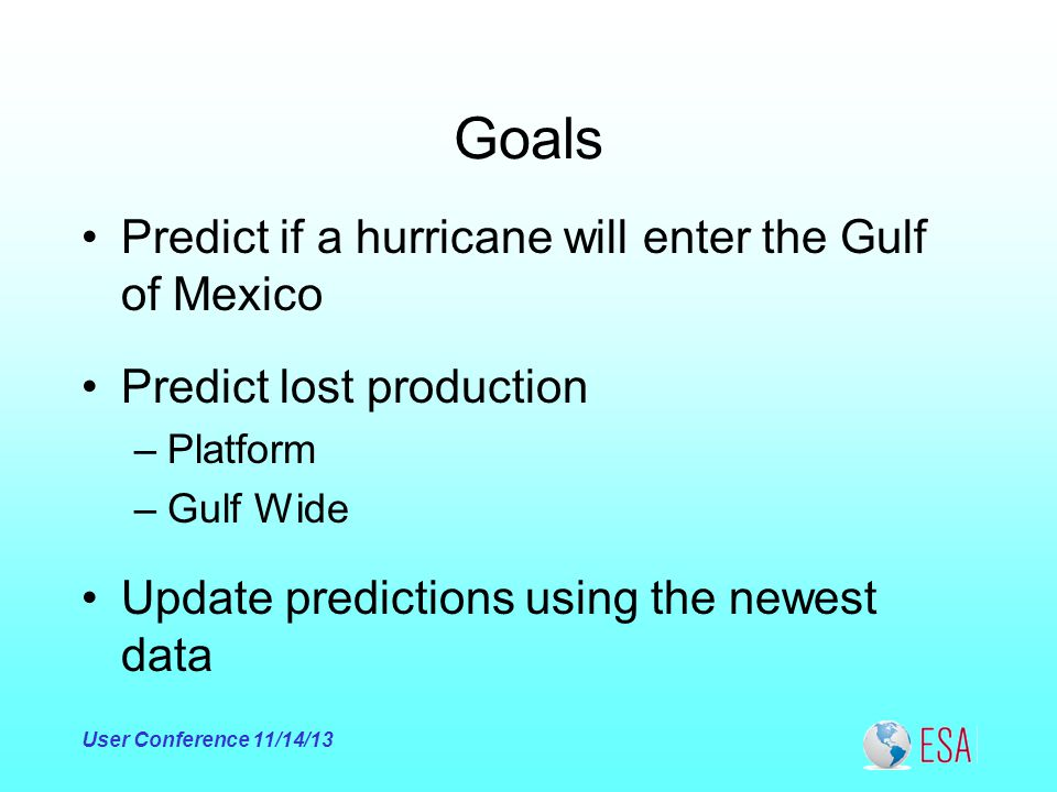 Goals Predict if a hurricane will enter the Gulf of Mexico User Conference 11/14/13 Predict lost production –Platform –Gulf Wide Update predictions using the newest data