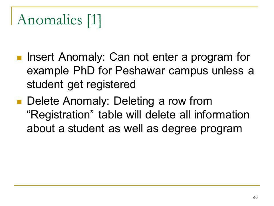 Anomalies [1] Insert Anomaly: Can not enter a program for example PhD for Peshawar campus unless a student get registered Delete Anomaly: Deleting a r