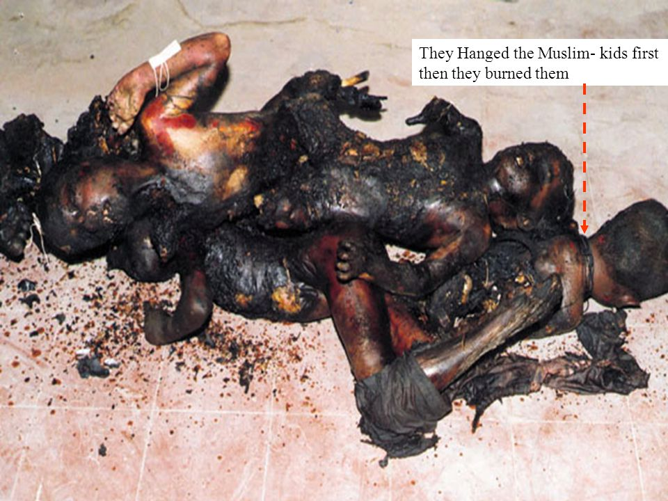 They Hanged the Muslim- kids first then they burned them