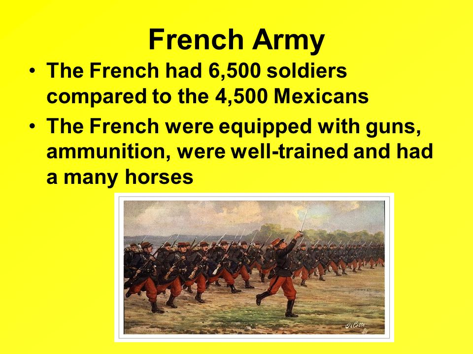 French Army The French had 6,500 soldiers compared to the 4,500 Mexicans The French were equipped with guns, ammunition, were well-trained and had a many horses