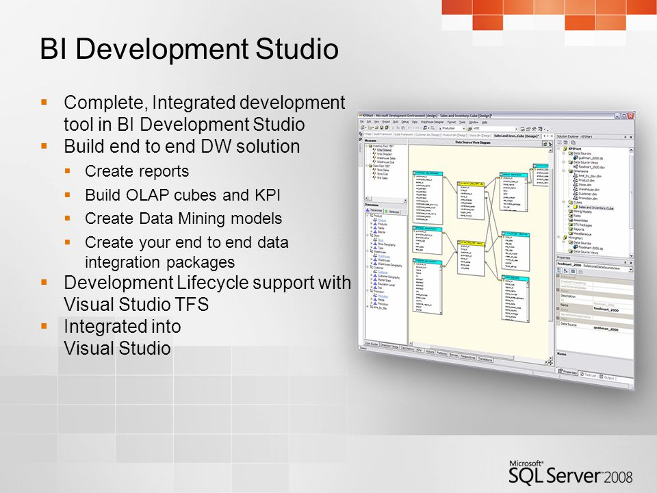 BI Development Studio  Complete, Integrated development tool in BI Development Studio  Build end to end DW solution  Create reports  Build OLAP cubes and KPI  Create Data Mining models  Create your end to end data integration packages  Development Lifecycle support with Visual Studio TFS  Integrated into Visual Studio