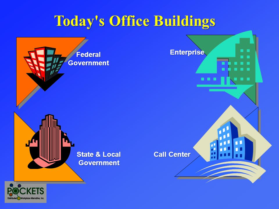 FederalGovernmentEnterpriseTenants Web Enabled Call Center State & Local Government Tech Center & Education Major Employers of Knowledge Workers Distributed Work Center