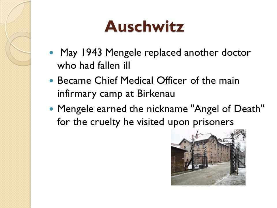 Military Service In 1937 Mengele joined the Nazi Party Mengele was drafted into the army in 1940 Just before he was transferred to Auschwitz, Mengele was promoted to the rank of SS- Hauptsturmführer (Captain) in April 1943.