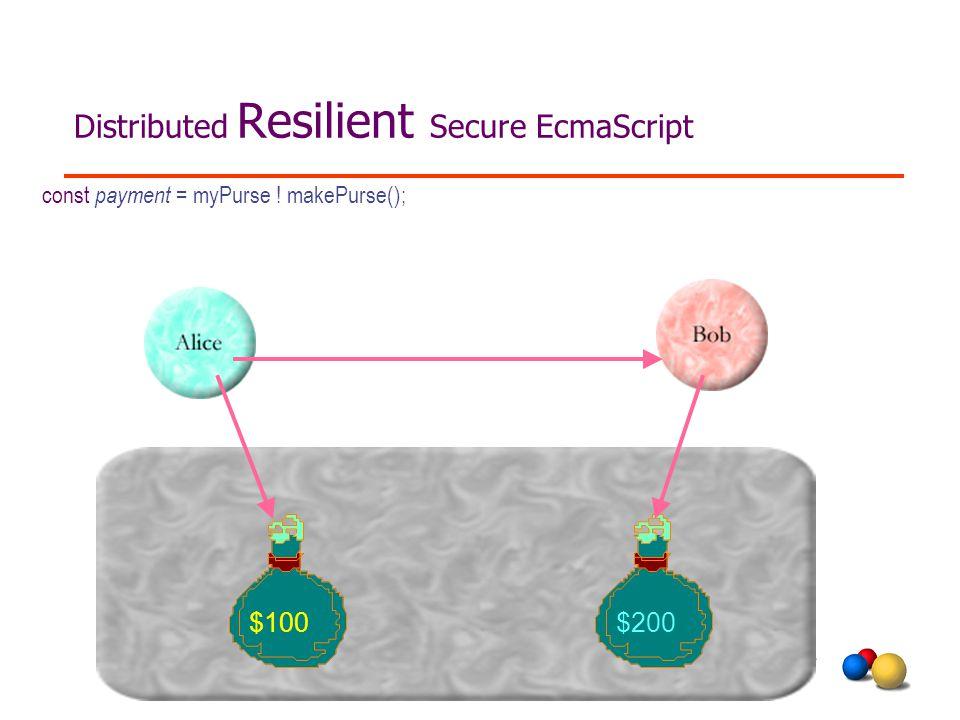 Distributed Resilient Secure EcmaScript $100$200 const payment = myPurse ! makePurse();