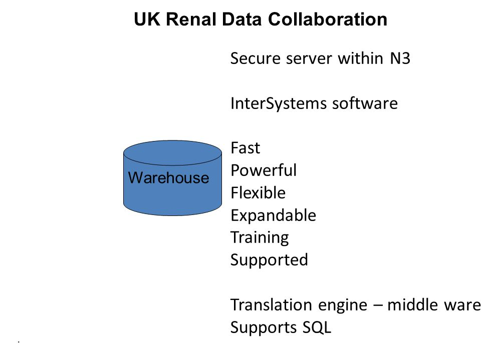 . UK Renal Data Collaboration Warehouse Secure server within N3 InterSystems software Fast Powerful Flexible Expandable Training Supported Translation