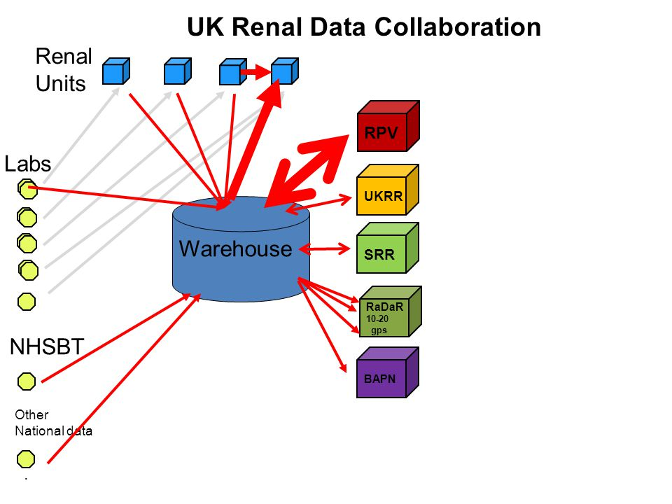 RPV. UK Renal Data Collaboration Labs Renal Units UKRR SRR RaDaR 10-20 gps NHSBT Other National data Warehouse BAPN