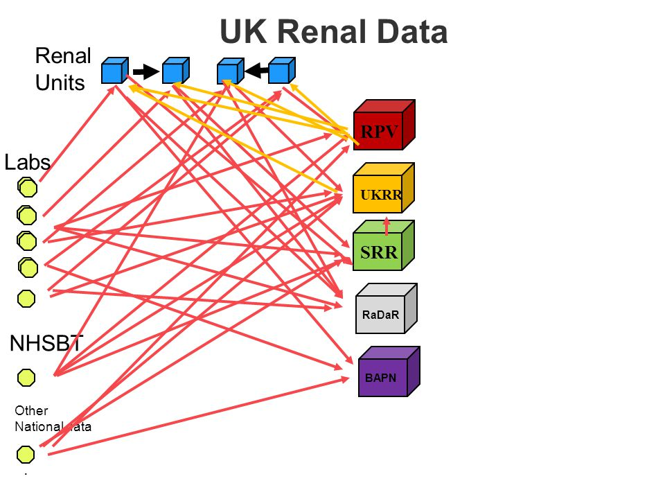RPV. Labs Renal Units UKRR SRR RaDaR NHSBT Other National data BAPN UK Renal Data