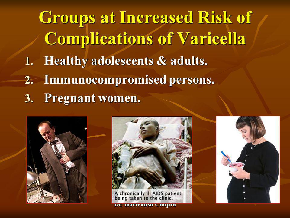 Dr. Harivansh Chopra Groups at Increased Risk of Complications of Varicella 1. Healthy adolescents & adults. 2. Immunocompromised persons. 3. Pregnant