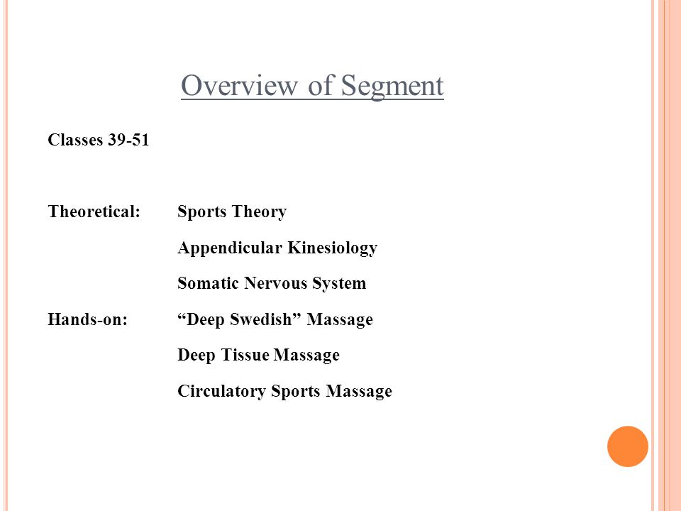 "Overview of Segment Classes 39-51 Theoretical: Sports Theory Appendicular Kinesiology Somatic Nervous System Hands-on:""Deep Swedish"" Massage Deep Tiss"