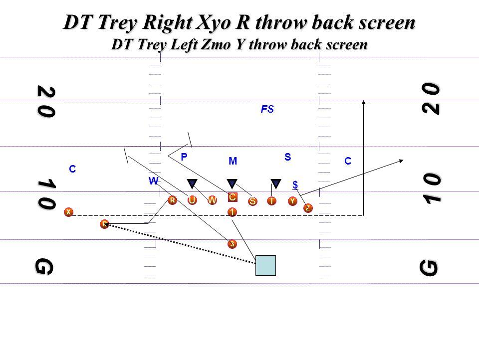 1 0 DT Trey Right Xyo R throw back screen DT Trey Left Zmo Y throw back screen C S WU T Y X 3 R 1 Z 1 0 2 0 G M S W $ C C FS G P R