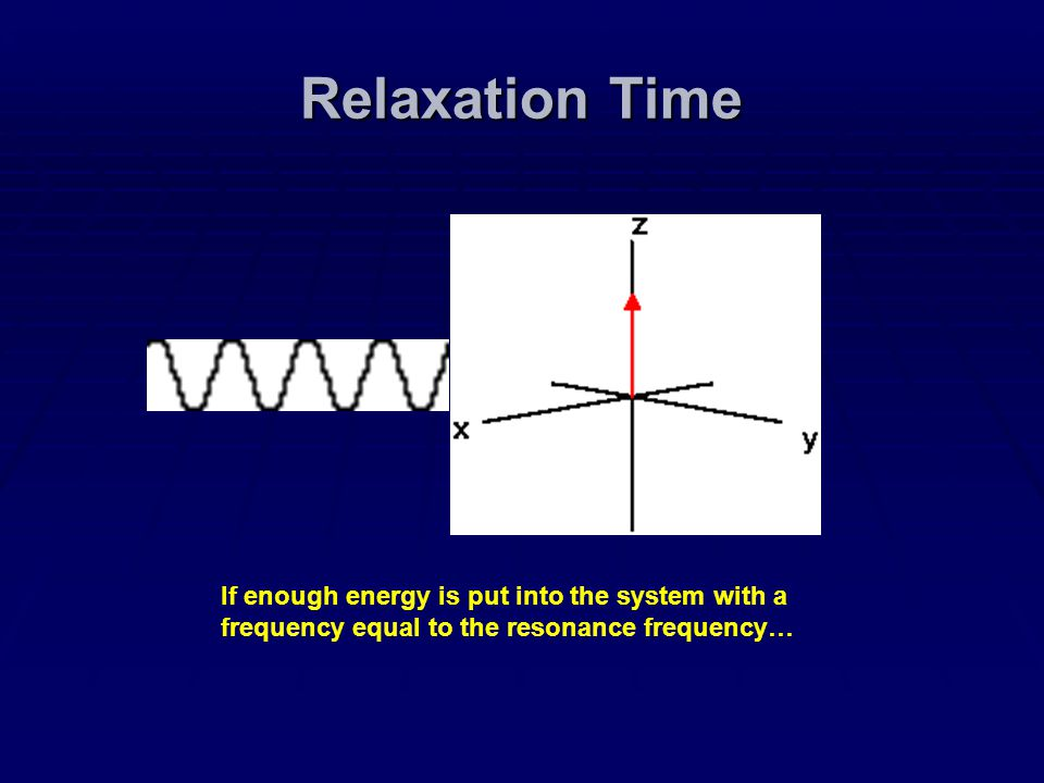 Relaxation Time If enough energy is put into the system with a frequency equal to the resonance frequency…