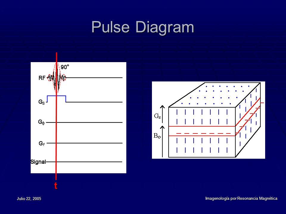 Julio 22, 2005 Imagenología por Resonancia Magnética Pulse Diagram t