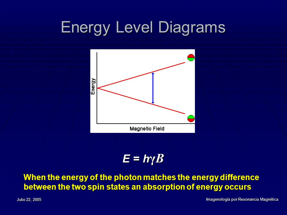 Julio 22, 2005 Imagenología por Resonancia Magnética Energy Level Diagrams E = h γB E = h γB When the energy of the photon matches the energy difference between the two spin states an absorption of energy occurs